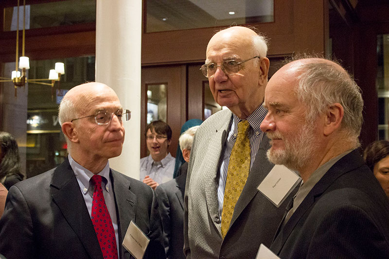 Professor Alan S. Blinder; Former Federal Reserve Chairman Paul Volcker; NYU Social Sciences Dean Michael Laver