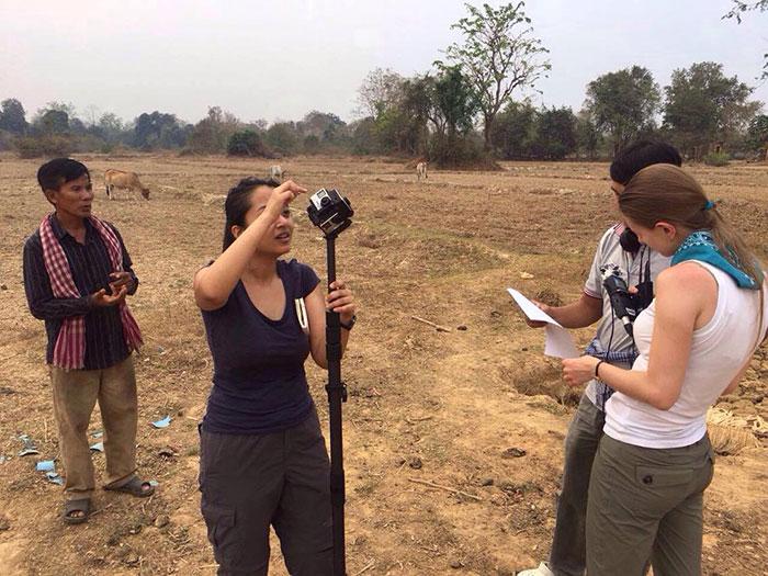 GlobalBeat 2017: Cambodia Photo - Ayesha Shakya (l) and Olga Slobodchikova (r) set up 360 shot for report on deforestation
