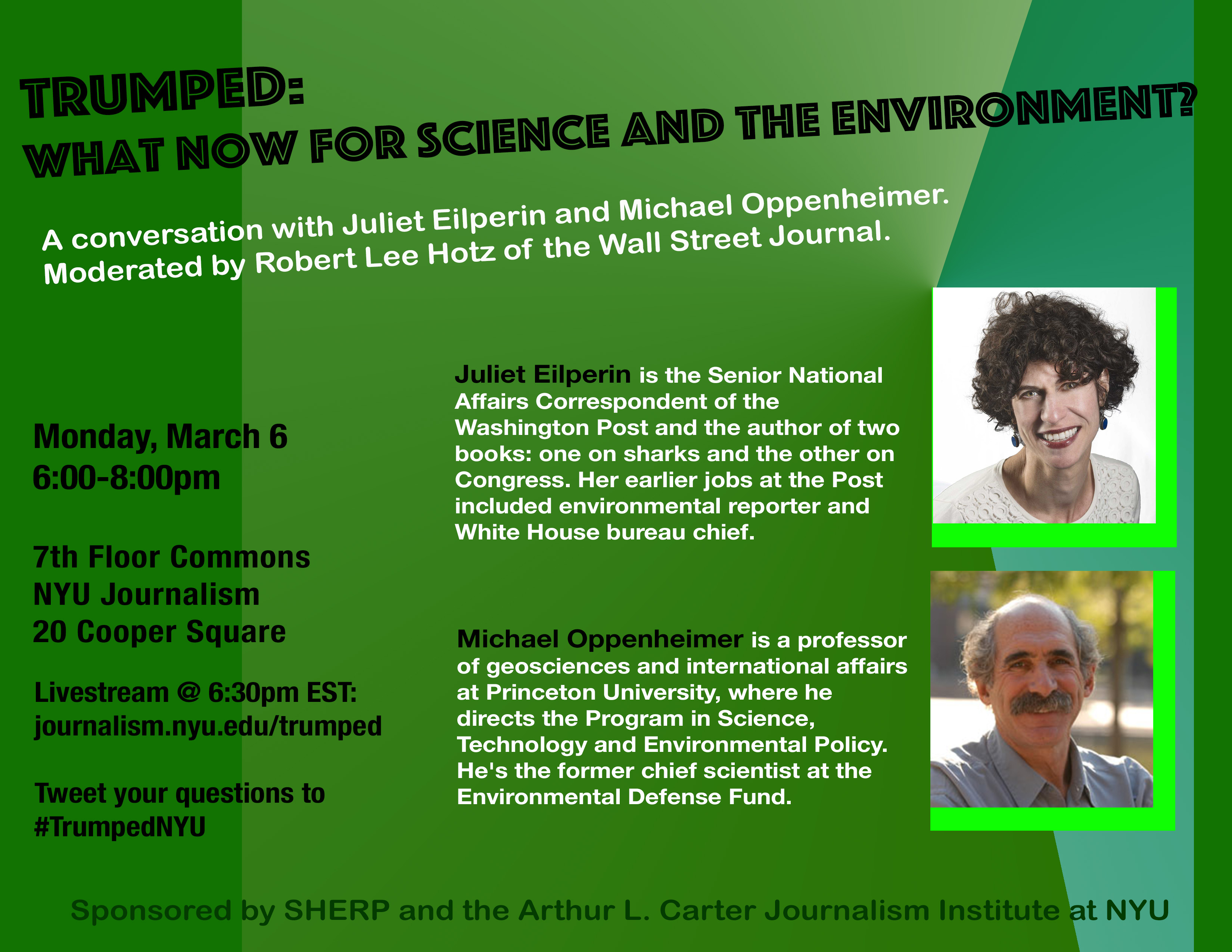 Trumped: What Now for Science and the Environment? - Event Poster 6 Mar 2017