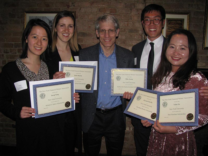 NYU Business and Economic Reporting students win five of the six scholarship awards given in 2017 by the New York Financial Writers Association