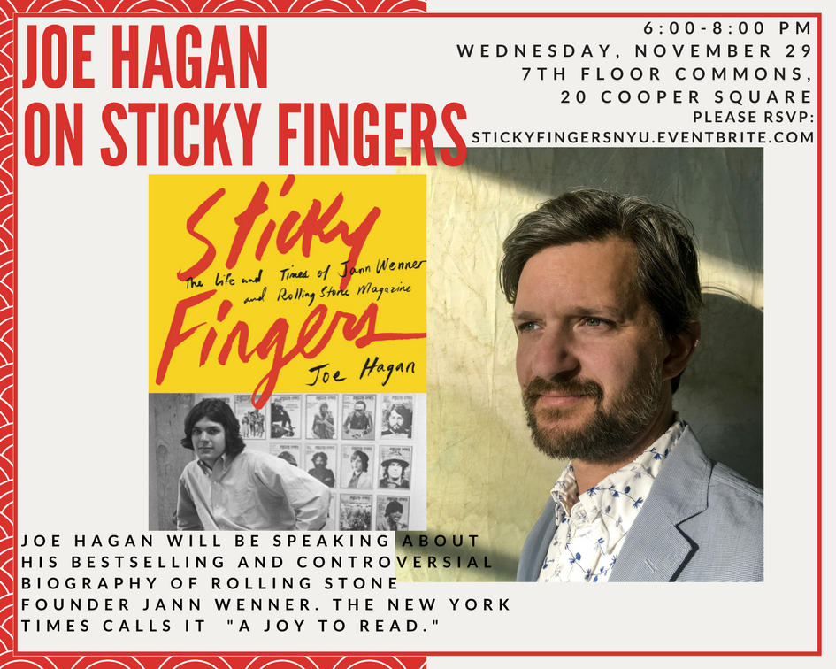 Joe Hagan on Sticky Fingers - Event Poster 2017