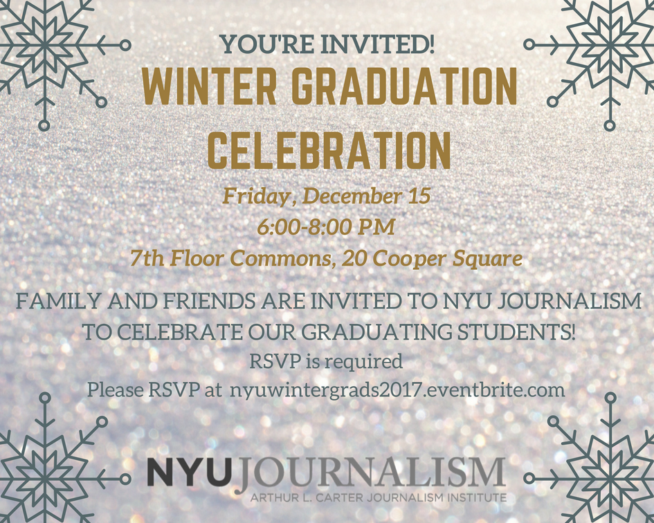 Winter Journalism Graduation Celebration - Event Poster 2018