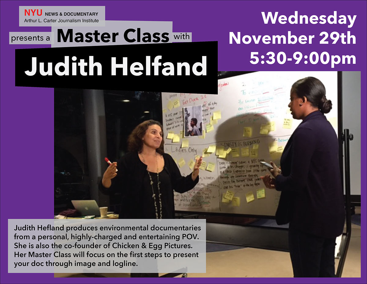 Master Class with Judith Helfand (Read more on web page)