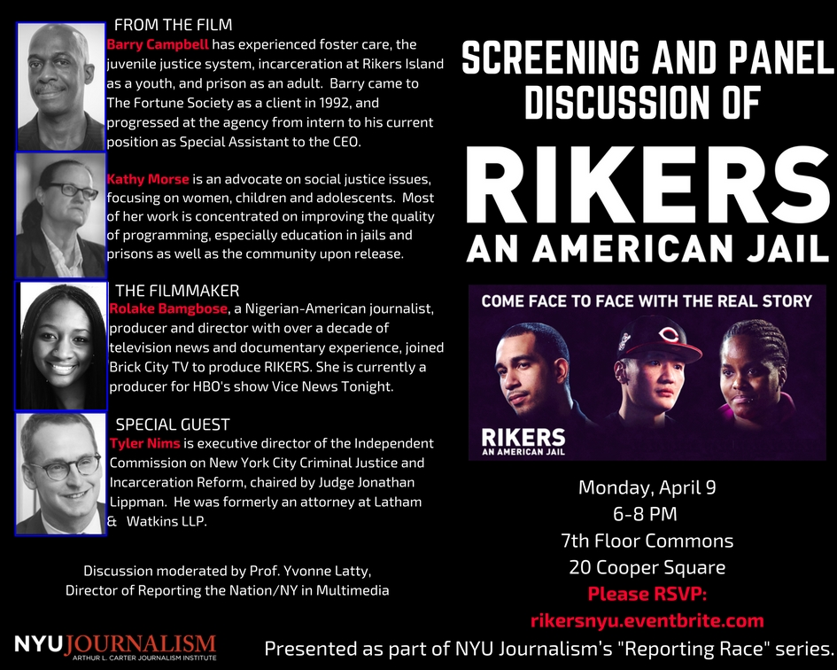 """Screening and Discussion of """"Rikers: An American Jail"""" - Event Poster 2018"""