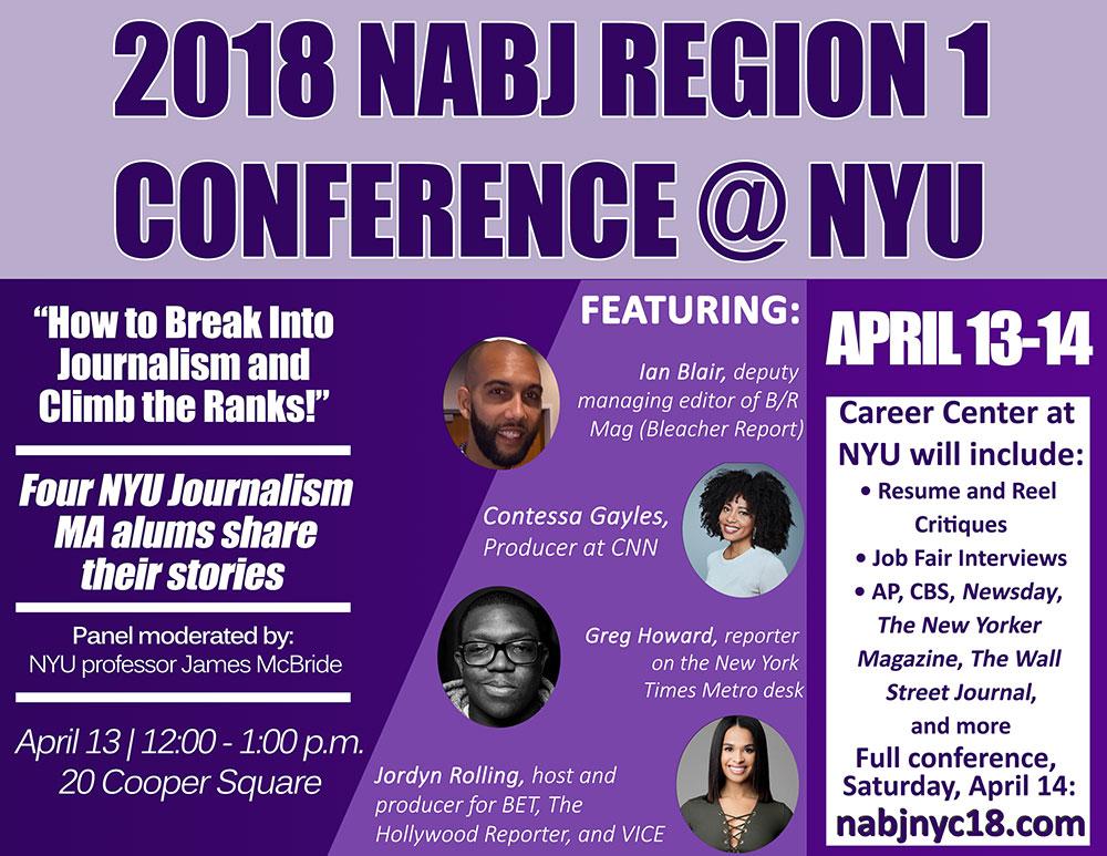 NYU Journalism Hosts NABJ Global Diversity Summit - Event Poster 2018