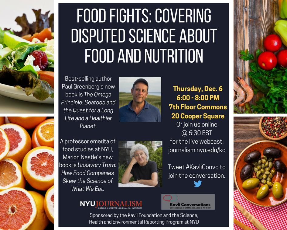 Event Poster: Food Fights: Covering Disputed Science About Food and Nutrition