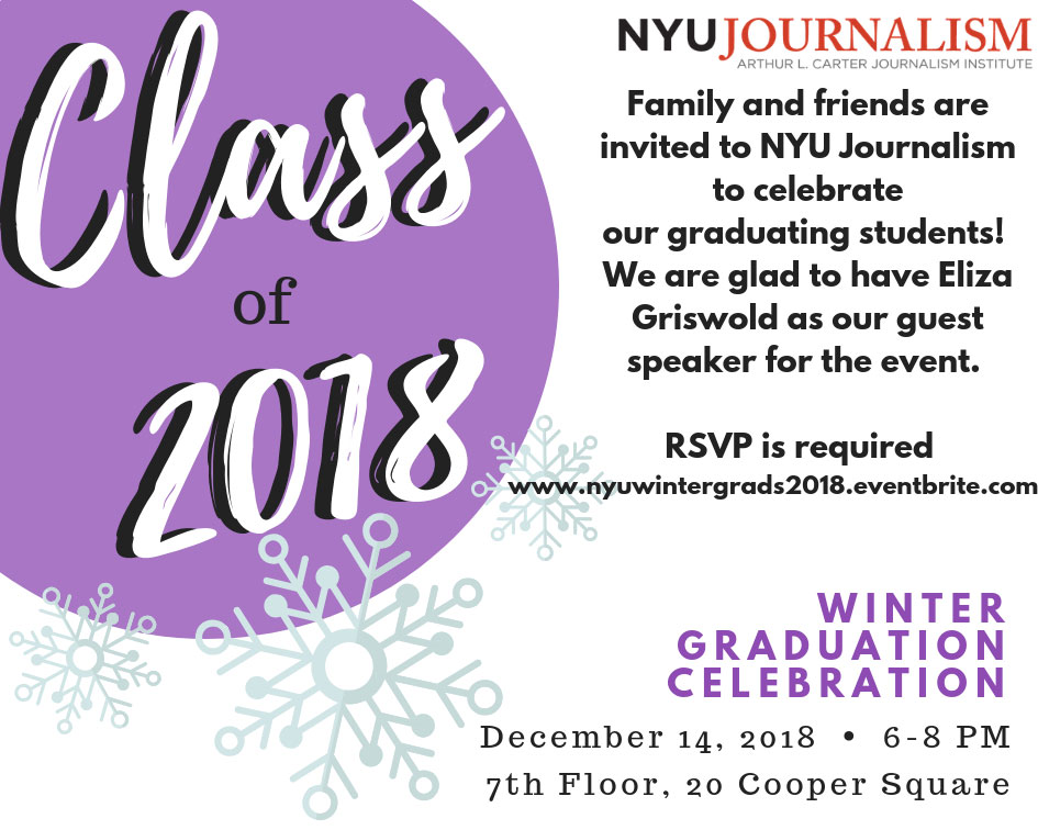Event Poster - 2018 Fall - Dec 14 2018 6-8pm - Winter Graduation Class of 2018