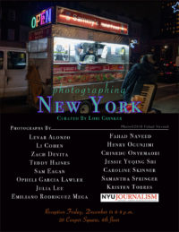 Event Poster - 2018 Fall - Photographing New York - Dec 14 6-8pm - 20 Cooper Square, 6th Floor - Curated by Lori Grinker