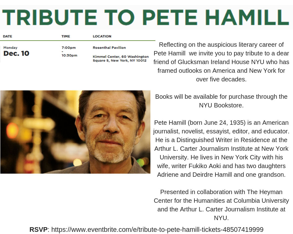 Event Poster - 2018 Fall - Tribute to Pete Hamill - 10 Dec 2018, 7:00pm - 10:30pm