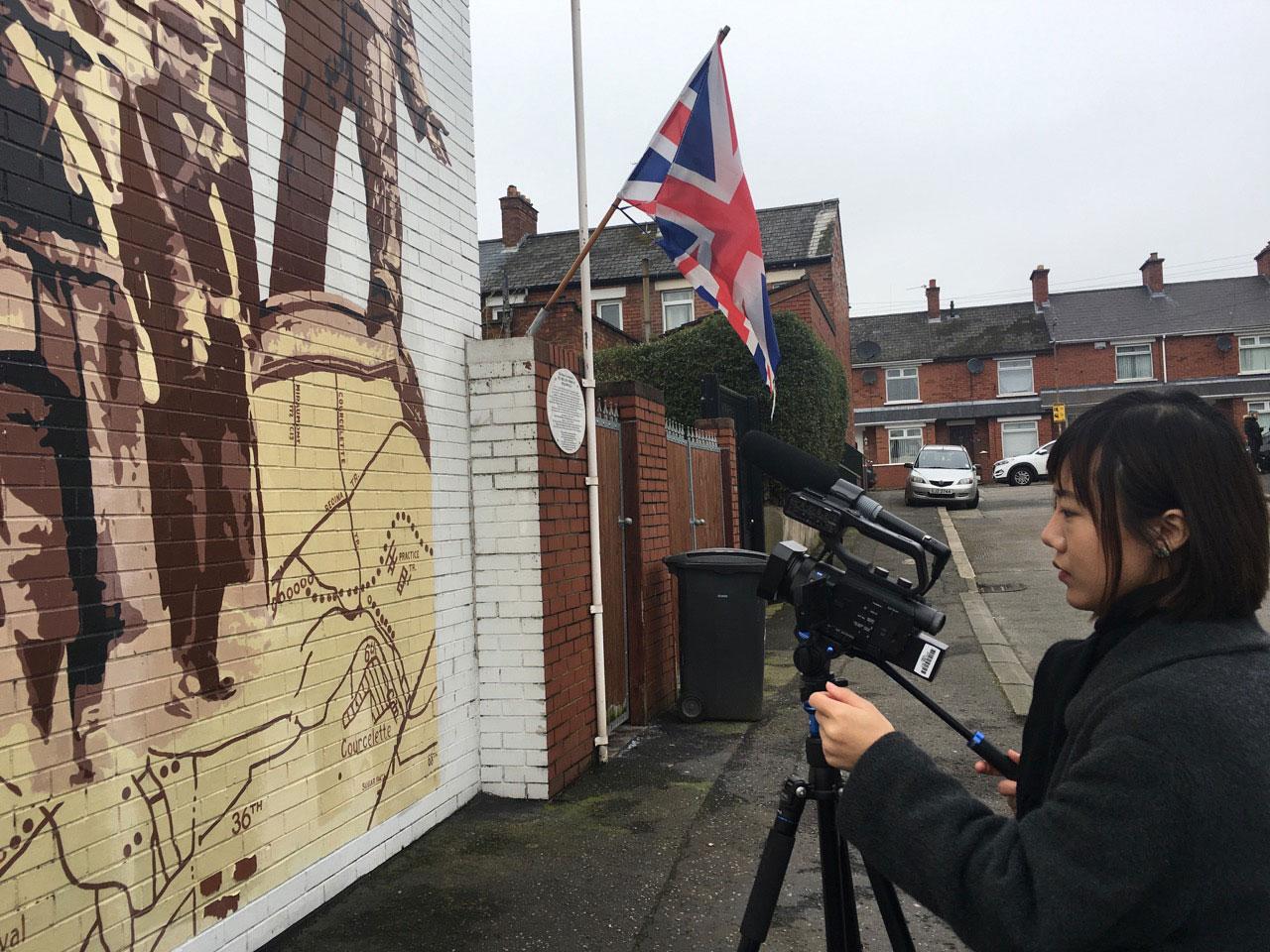 Elle Luan filming in Unionist East Belfast