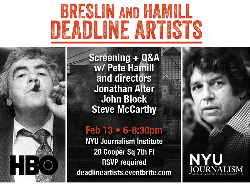 Event Poster - 2019 Spring - Feb 13 6-8:30pm. Breslin and Hamill Deadline Artists - Read More on Event Page