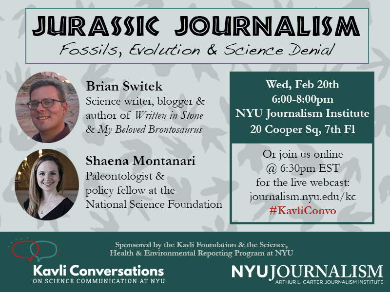 Event Poster - 20 Feb 2019 6-8pm - Jurassic Journalism: Fossils, Evolution and Science Denial (Read details on webpage)
