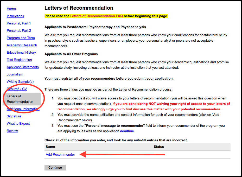 OJM Screenshot of Application Page: Letter of Recommendation Button
