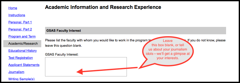 OJM Screenshot of Application Page: Academic Information Form. Leave GSAS Faculty Interest box blank