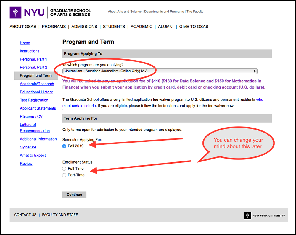 OJM Screenshot of Application Page: Program and Term Form