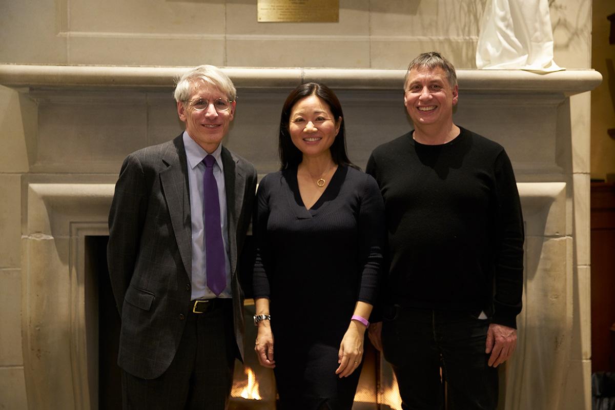 Professor Linda Yueh, Professor Stephen D. Solomon and Professor Adam Penenberg