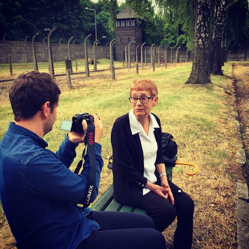 "Mathieu Faure interviewing his grandmother at Auschwitz for his doc, ""An Edited Life."""