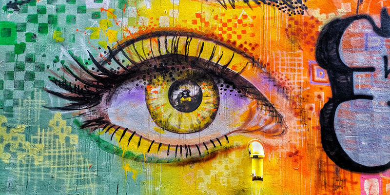 Graffiti of an painted colorful eye