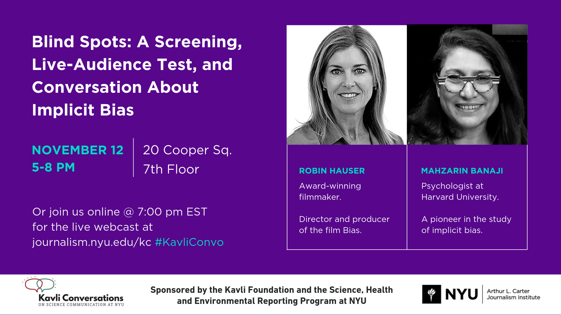 Blind Spots: A Screening, Live-Audience Test, and Conversation About Implicit Bias - Event Poster (read web page for details)