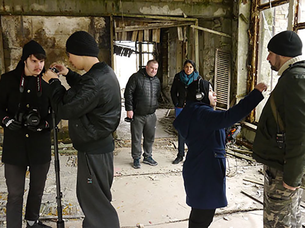 Preparing to film with 360 degree camera in irradiated ruins of Pripyat, Ukraine