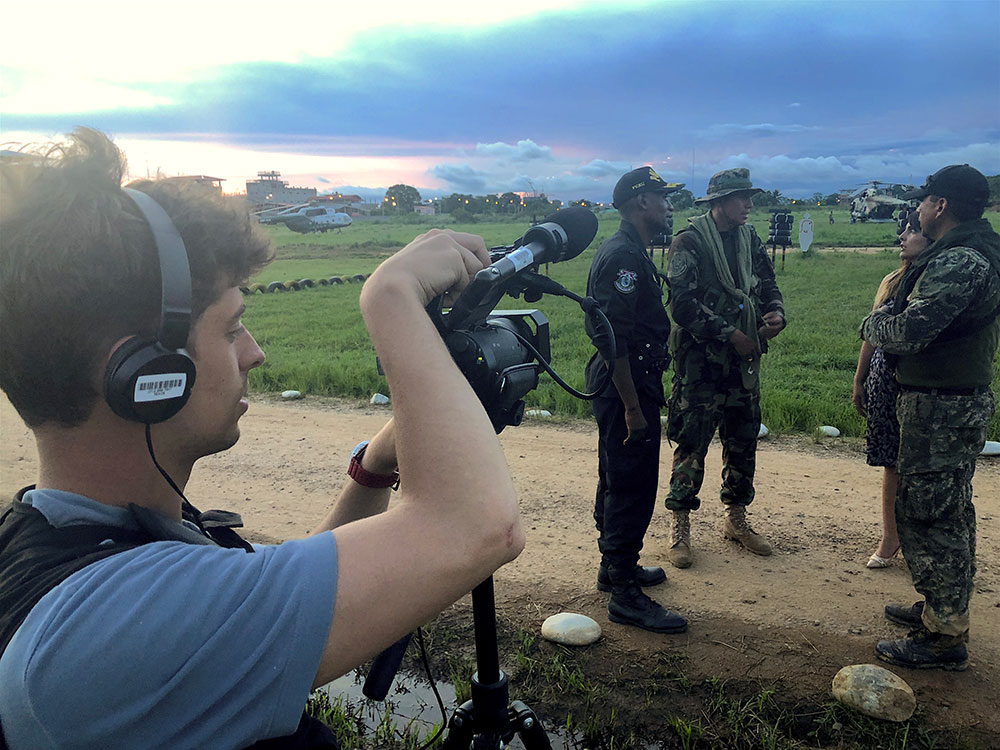 Alex Tabet films army, police and justice leaders of Peru's state of emergency in the Amazon