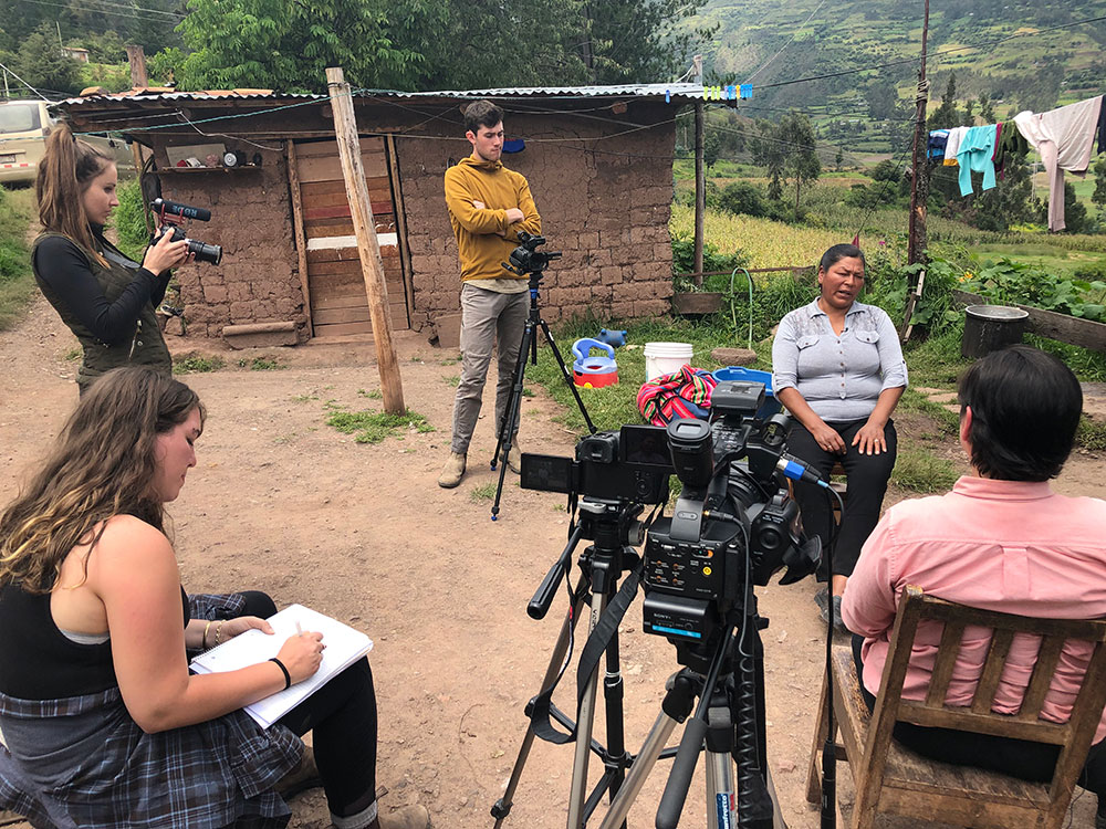 James Fox, Kathleen Taylor and Jacquelyn Kovarik filming in Limatambo, Peru, at the home of leading activist on forced sterilization issue.