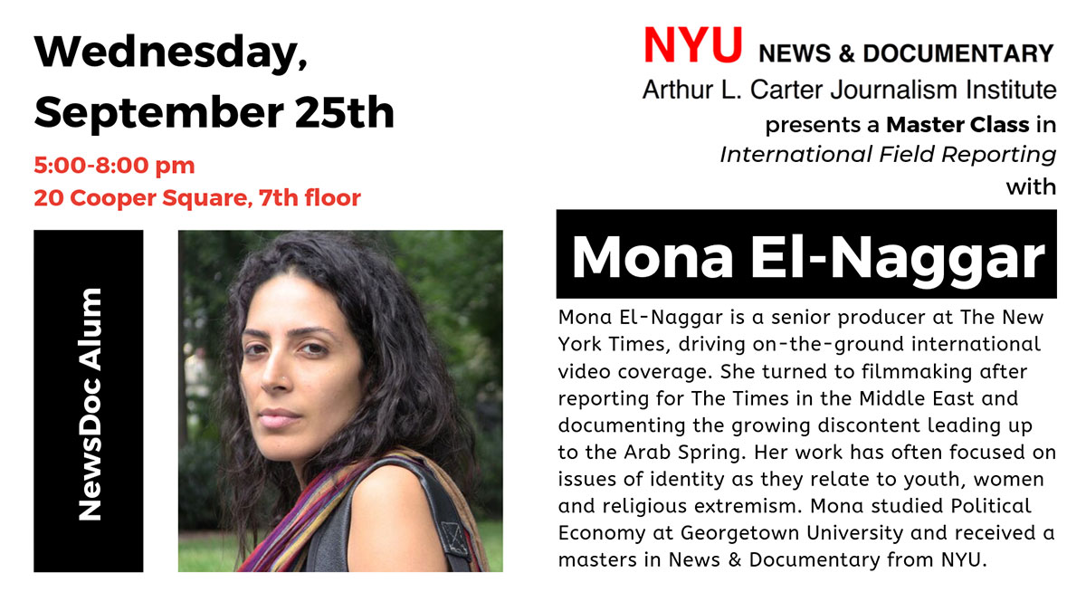 Master Class with Mona El-Naggar - September 25th, 2019 (Read web page for details)