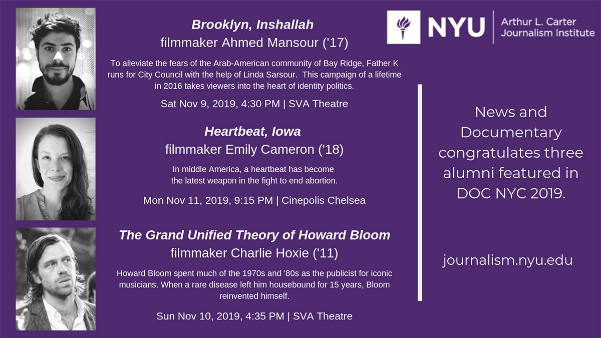 DOC NYC Poster - Nov 2019 - Brooklyn, Inshallah, Heartbeat, Iowa, and The Grand Unified Theory of Howard Bloom (Read web page for more info)