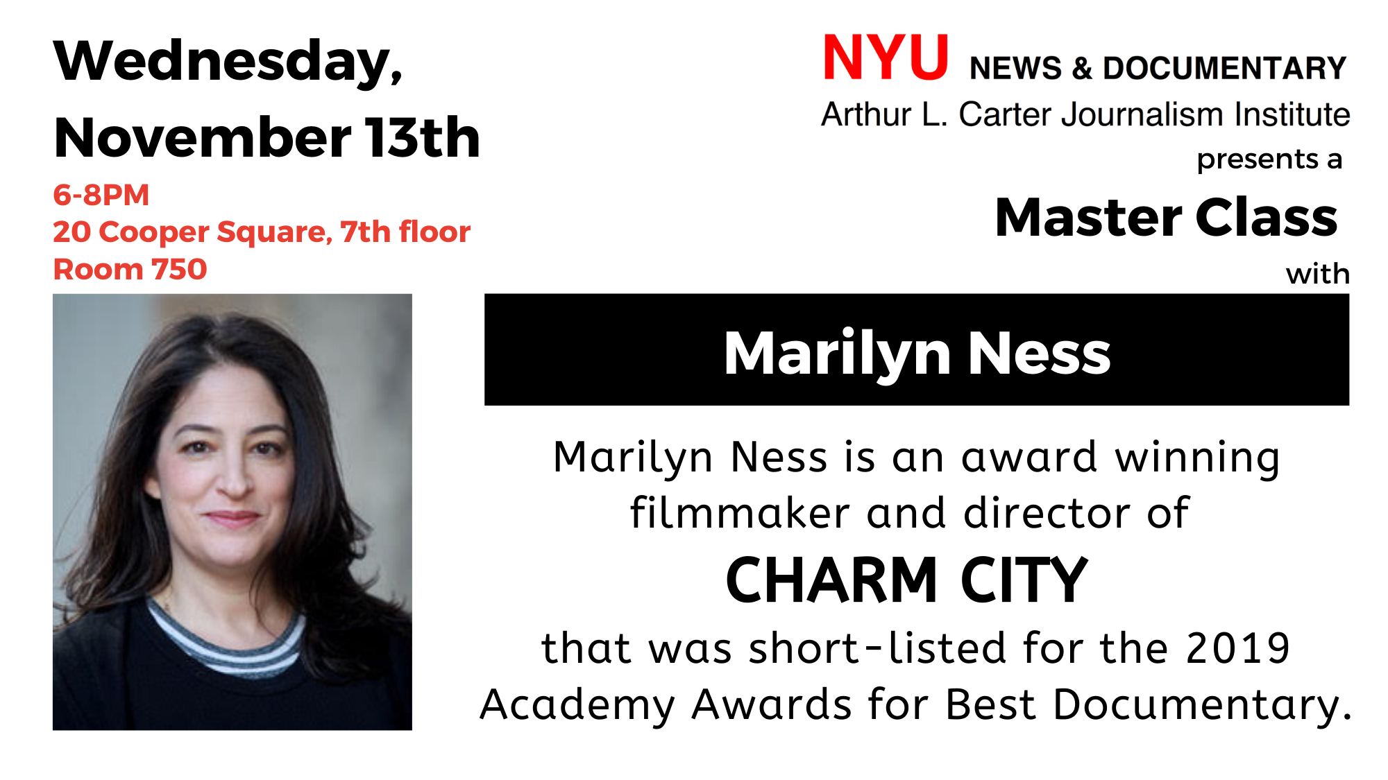 Master Class With Marilyn Ness - Event Poster