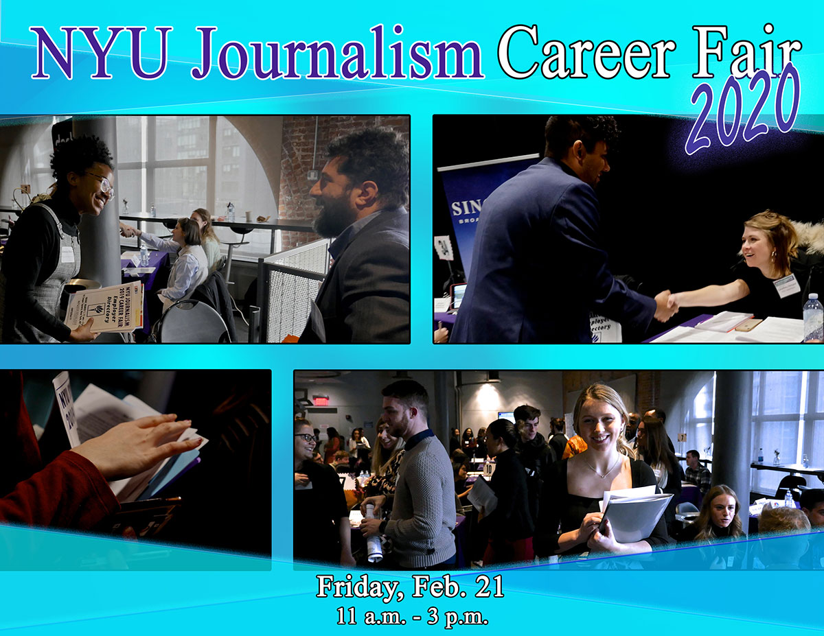 NYU Journalism Career Fair 2020 - Friday, Feb. 21 11am - 3pm