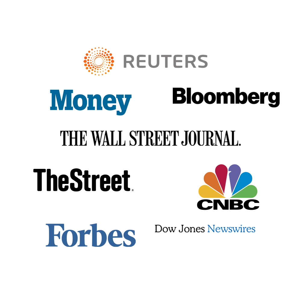 Logo Cloud - Reuters, Money, Bloomberg, The Wall Street Journal, TheStreet, CNBC, Forbes, Dow Jones Newswire