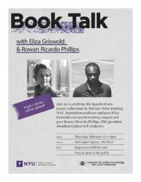 Event Poster - Book Talk With Eliza Griswold & Rowan Ricardo Phillips