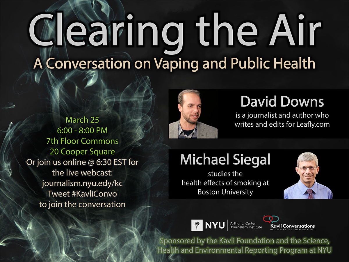 Event Poster - Clearing the Air: A Conversation on Vaping and Public Health - March 25th, 6:00-8:00pm - See event page for details