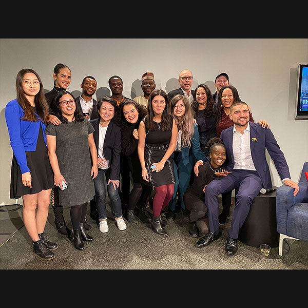Students in the Studio 20 graduating class, with program director Jay Rosen. Photo by Sylvan Solloway.