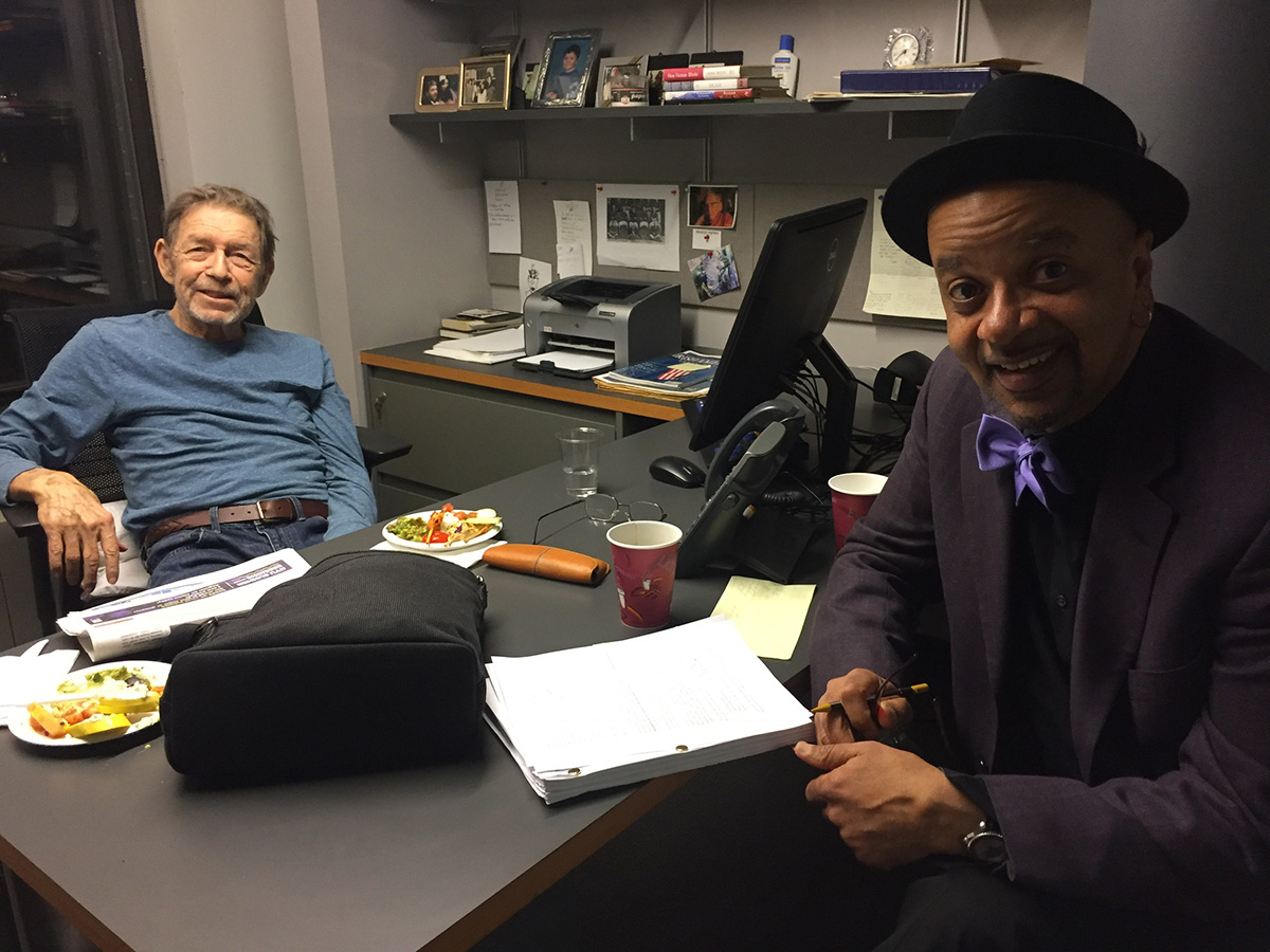 Pete Hamill (left) with James McBride (right)