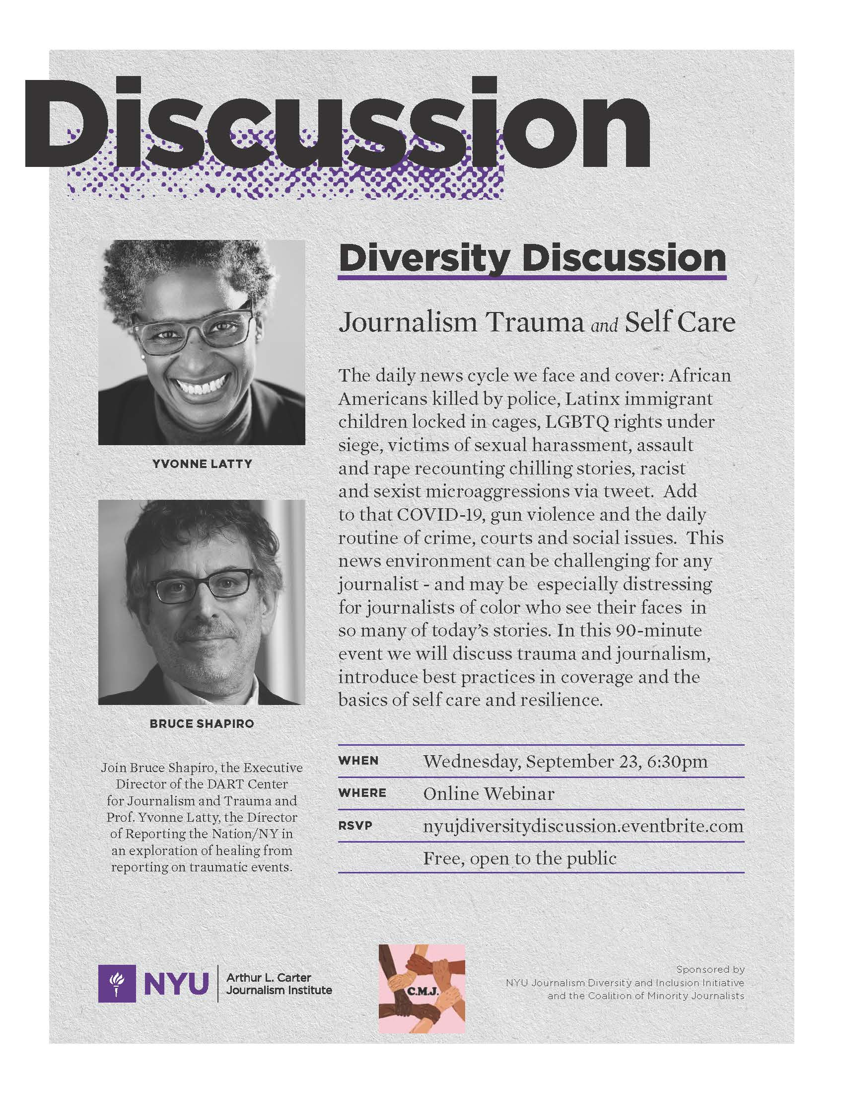Diversity Discussion: Journalism Trauma and Self Care - Sep 23, 2020 - Event Poster (See event page for details)