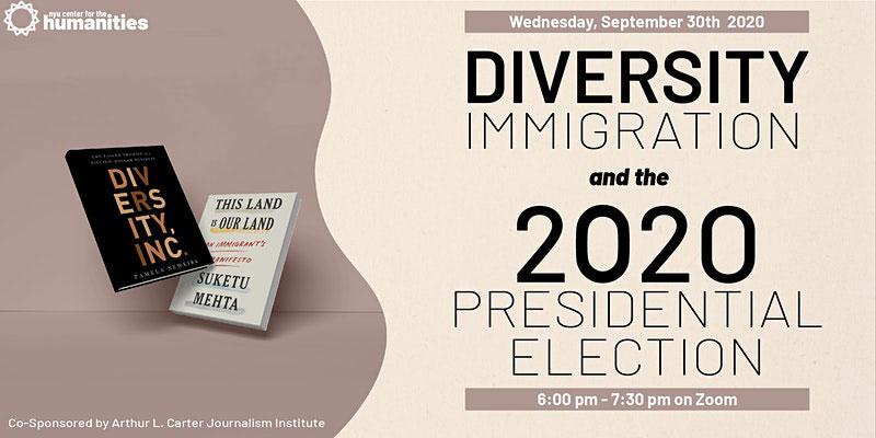 Event Poster - Diversity Immigration and the 2020 Presidential Election - See event page for details