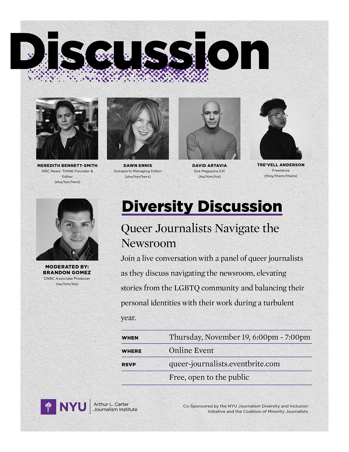 Event Poster - 2020 Fall - 19 Nov, 2020 - Diversity Discussion: Queer Journalists Navigate the Newsroom - See event page for details