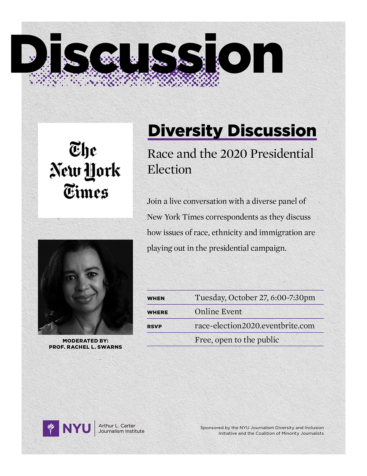 Event Poster - 2020 Fall - Oct 27, 2020 - Diversity Discussion: Race and the 2020 Presidential Election - See event page for details
