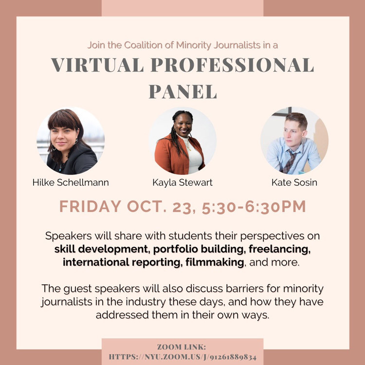 Event Poster - 2020 Fall - Oct 23 5:30-6:30pm - Virtual Professional Panel with the Coalition of Minority Journalists - See event page for details
