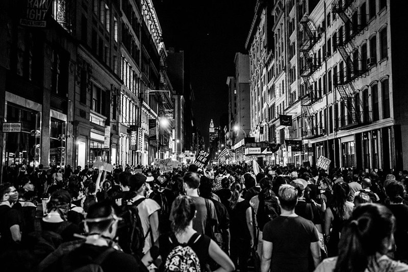 Demonstrators march down Broadway, September 23, 2020. Photo by Thomas Hengge