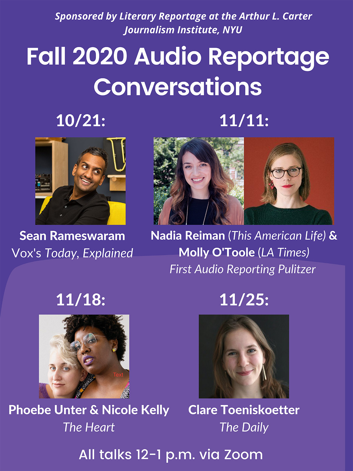 Event Poster - 2020 Fall - Audio Reportage Conversations - See event page for details