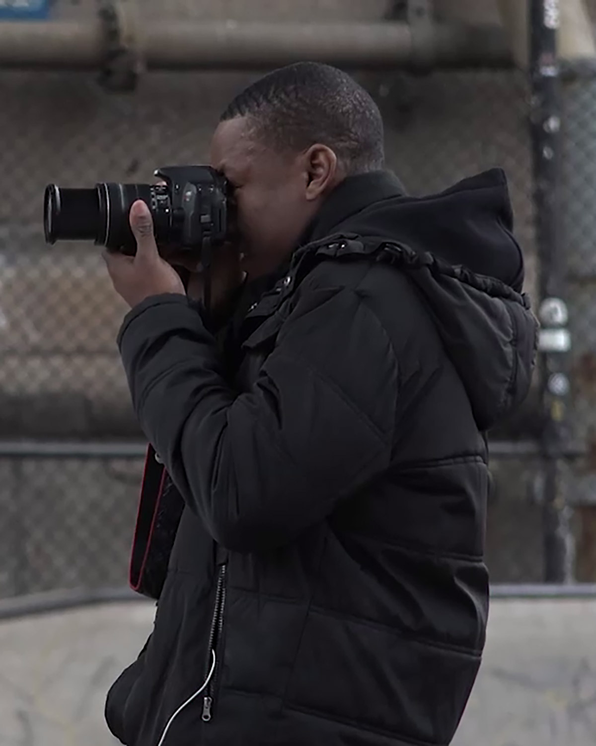 Student photographer in the field