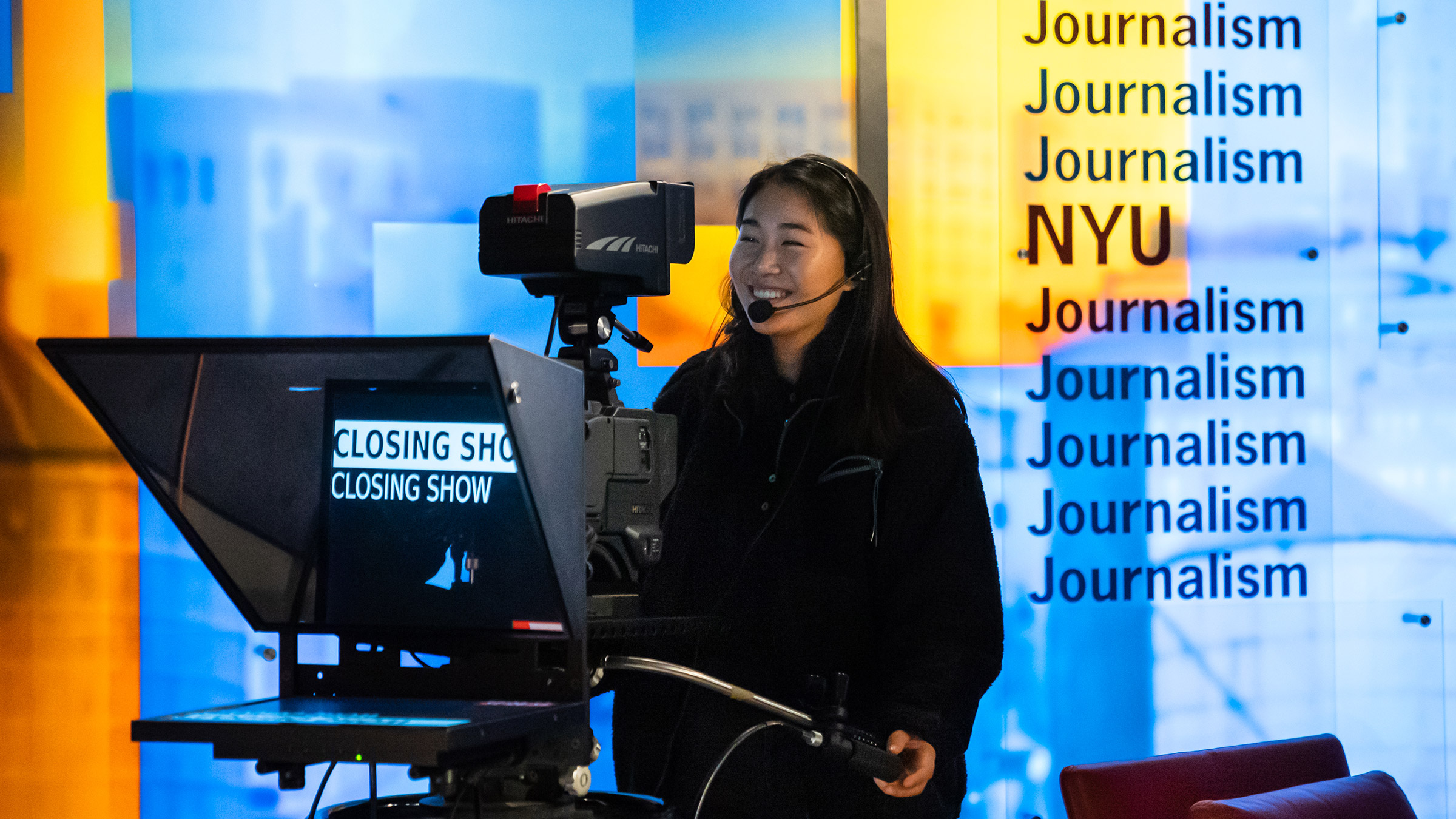 RTN/RNY student Bessie Liu at work in the TV Studio