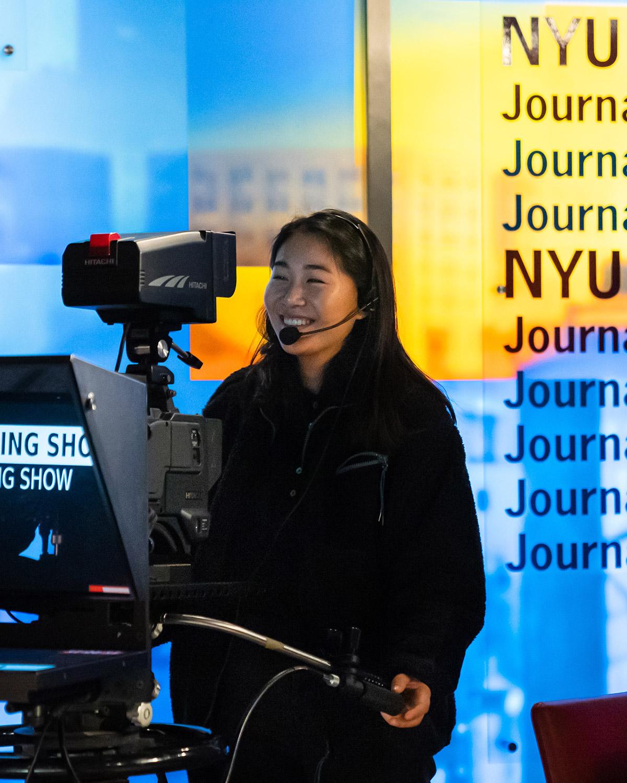 RTN/RNY student Bessie Liu at work in the TV Studio