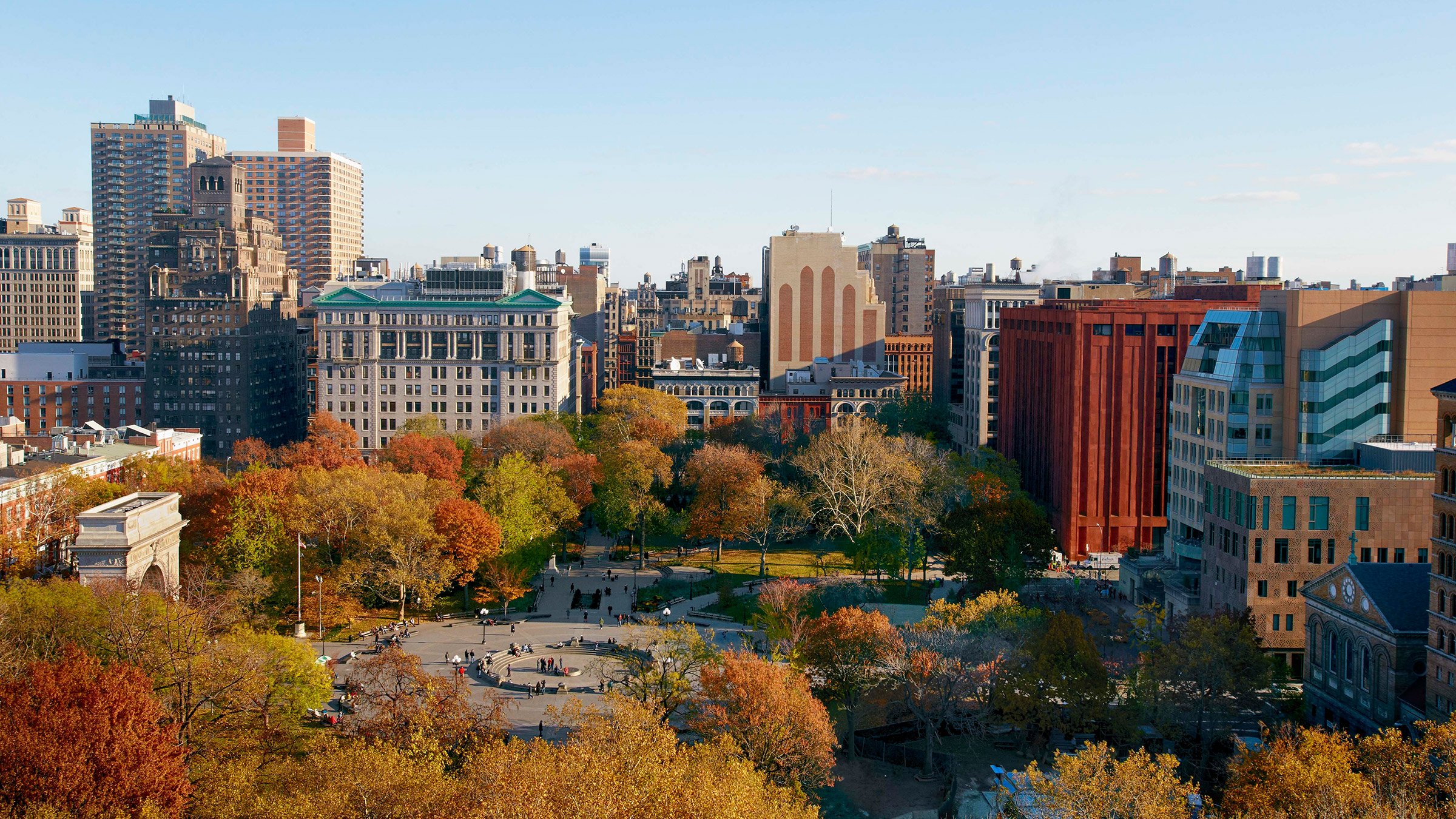 Washington Square Park in fall from aerial view