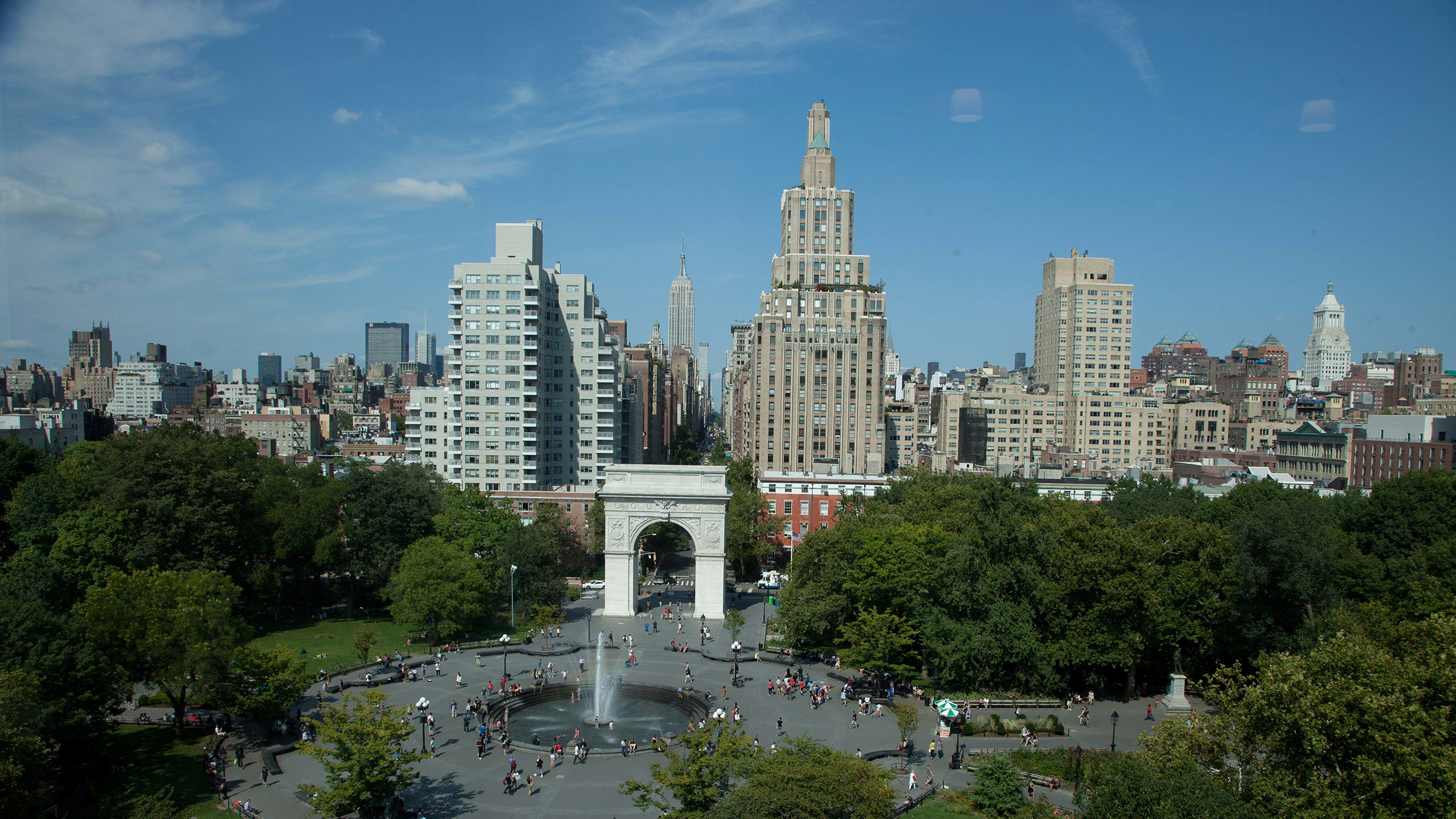 Washington Square Park from aerial view