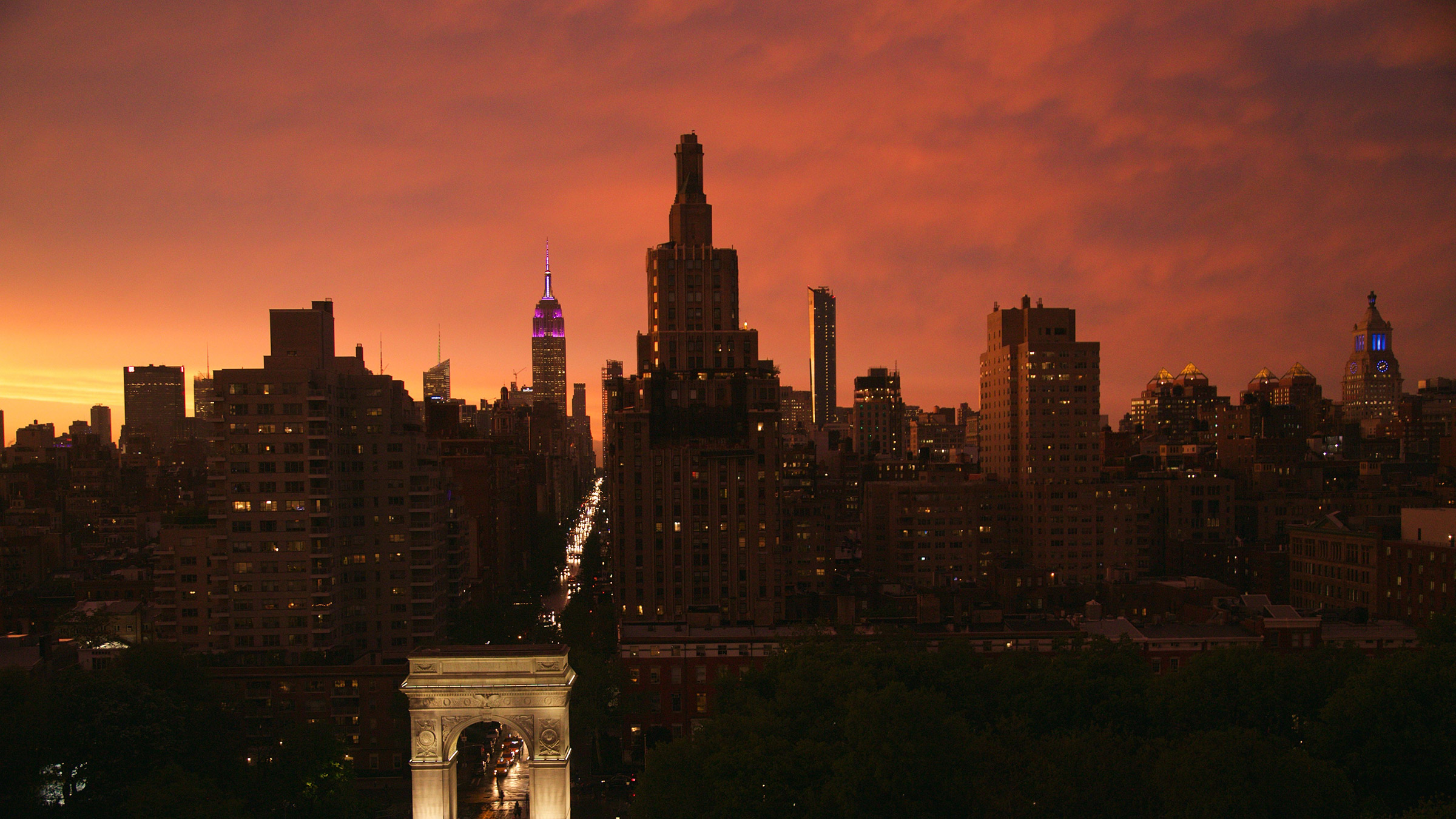 Washington Square Park from aerial view at sunset