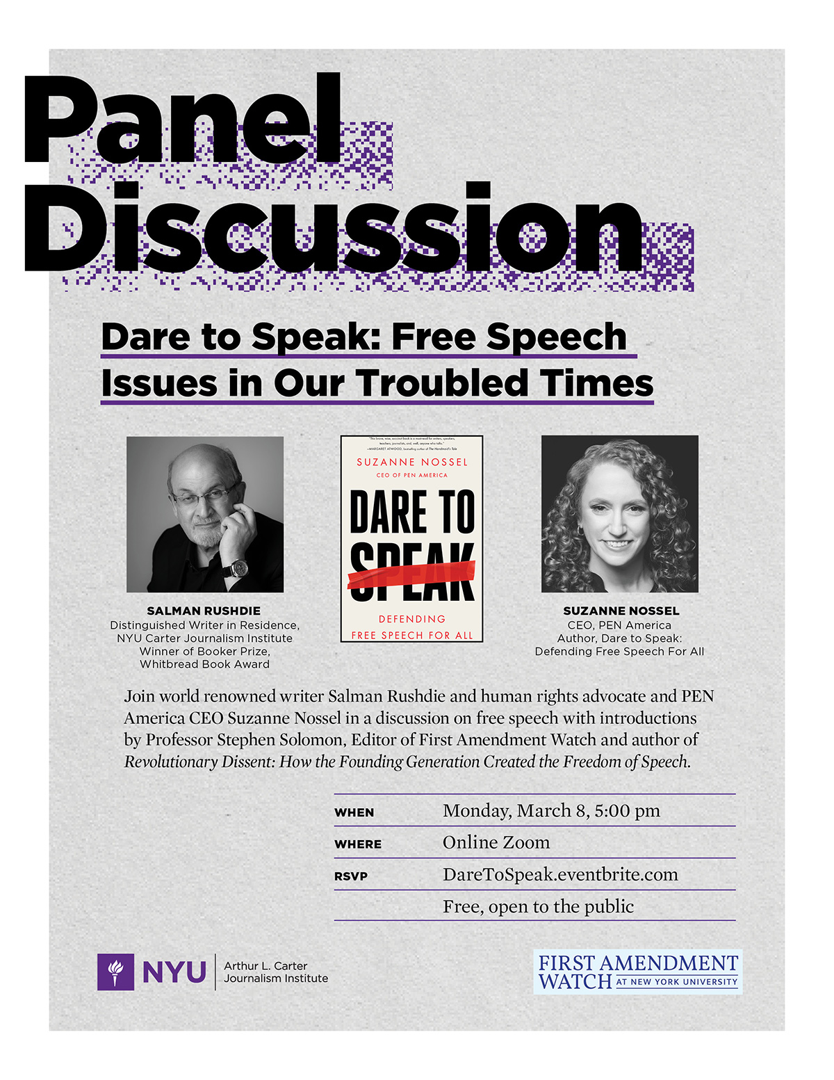 Event Poster - 2021 Spring - Dare to Speak - March 8th, 2021, 5:00pm - See event page for details
