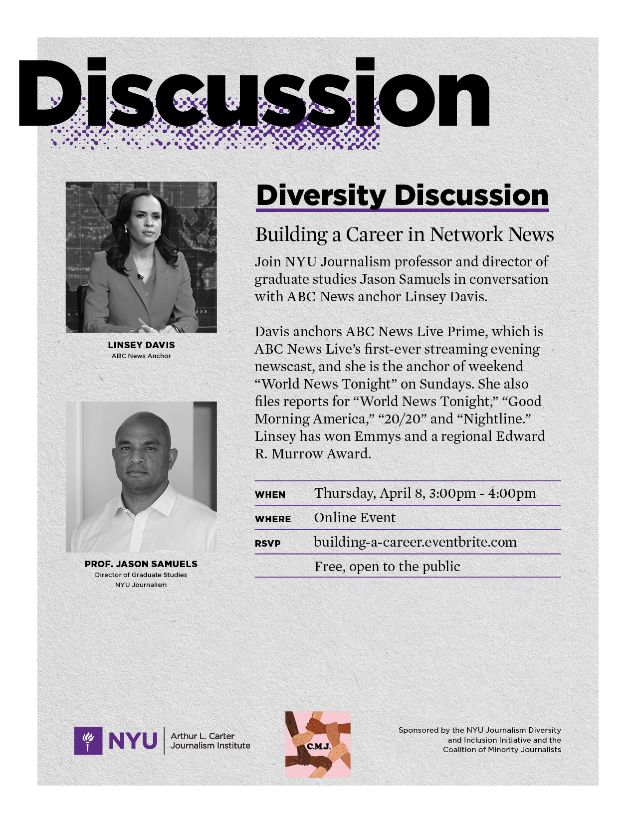 Diversity Discussion: Building a Career in Network News - Event Poster - See event page for details